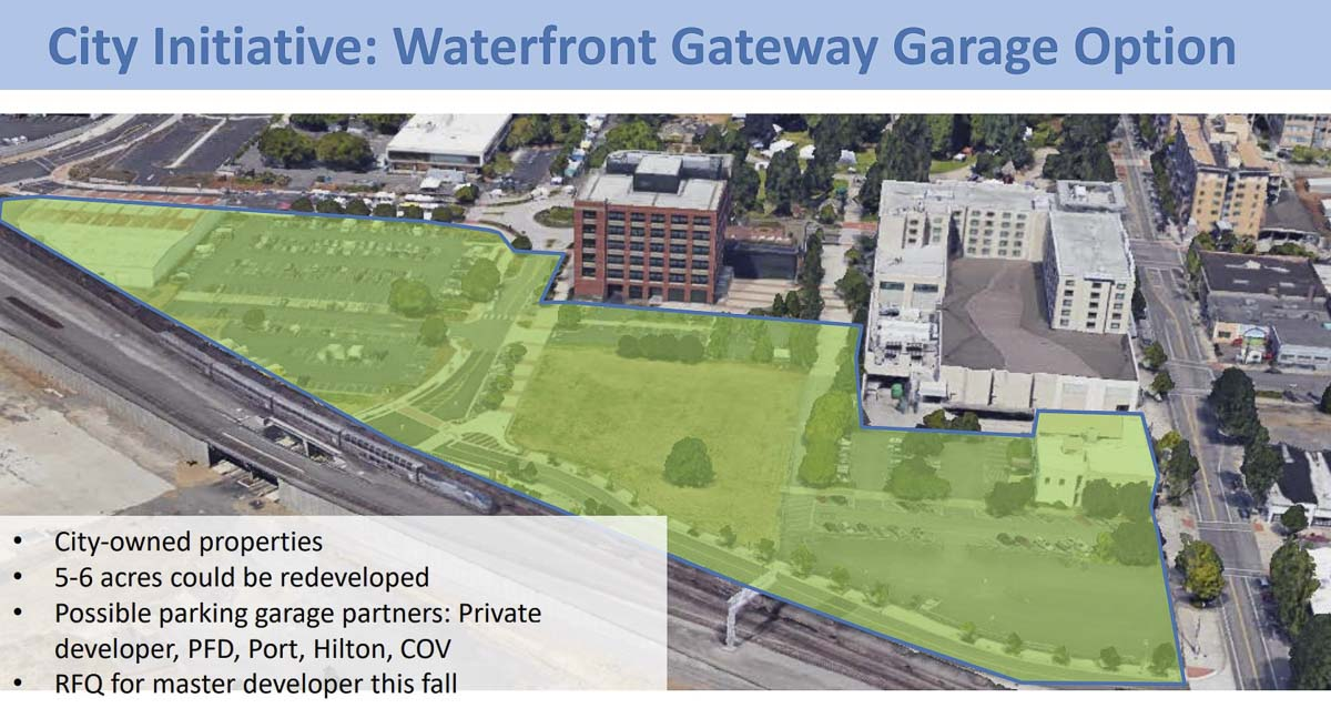 This map shows 5-6 acres near the Waterfront Gateway area where a new parking garage could be built. Image courtesy city of Vancouver