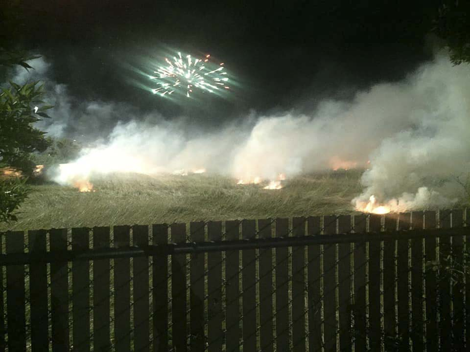 Several small grass fires were sparked during the fireworks show at Fourth at the Fairgrounds, ending the event early. Photo courtesy Larissa Sleeper