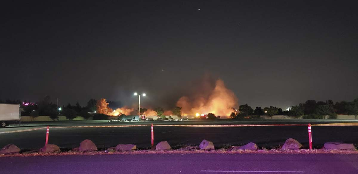 A grass fire sparked during the Fourth at the Fairgrounds fireworks show. Photo courtesy Lisa Jolma
