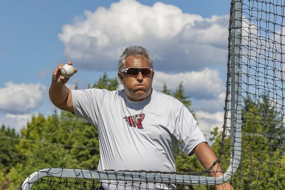Rob Parama, an assistant coach with the Raptors, is 57 and says he hopes he is still throwing Batting Practice when he is 75. Photo by Mike Schultz