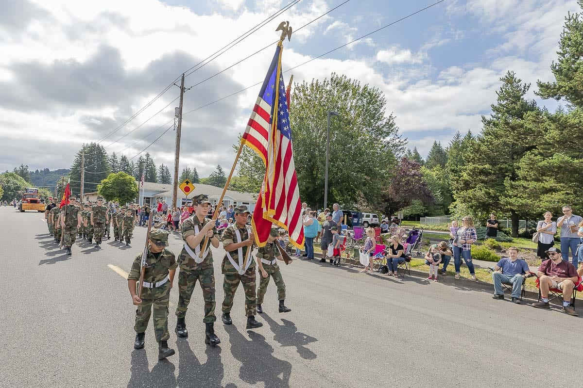 "Battle Ground High School's JROTC walked in this year's Territorial Days Parade. The theme of the parade was ""Home of the Free Because of the Brave."" Photo by Mike Schultz"