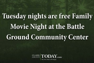 Tuesday nights are free Family Movie Night at the Battle Ground Community Center