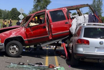 Vehicle crash with extrication and downed power lines occurs on NW Lower River Road