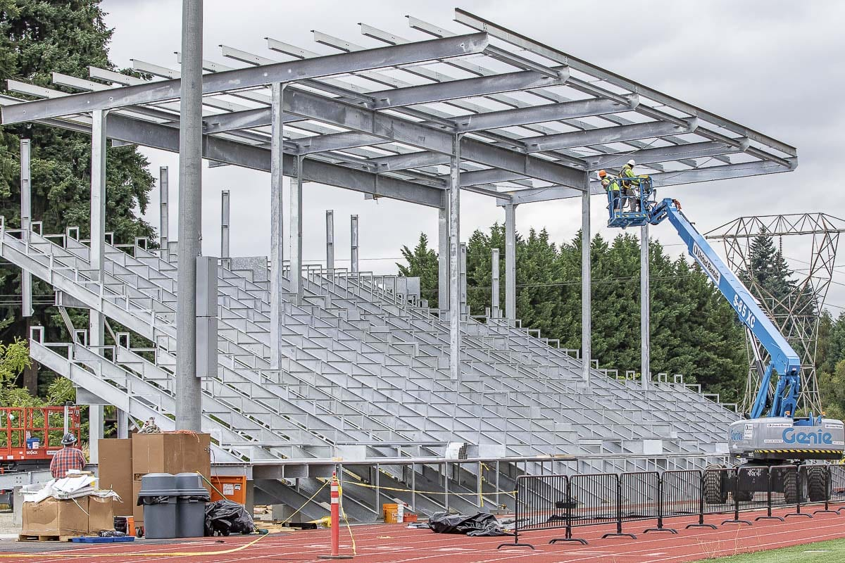 A new stadium is in the final stages of completion at King's Way Christian. It is expected to be ready before football and girls soccer season. Photo by Mike Schultz