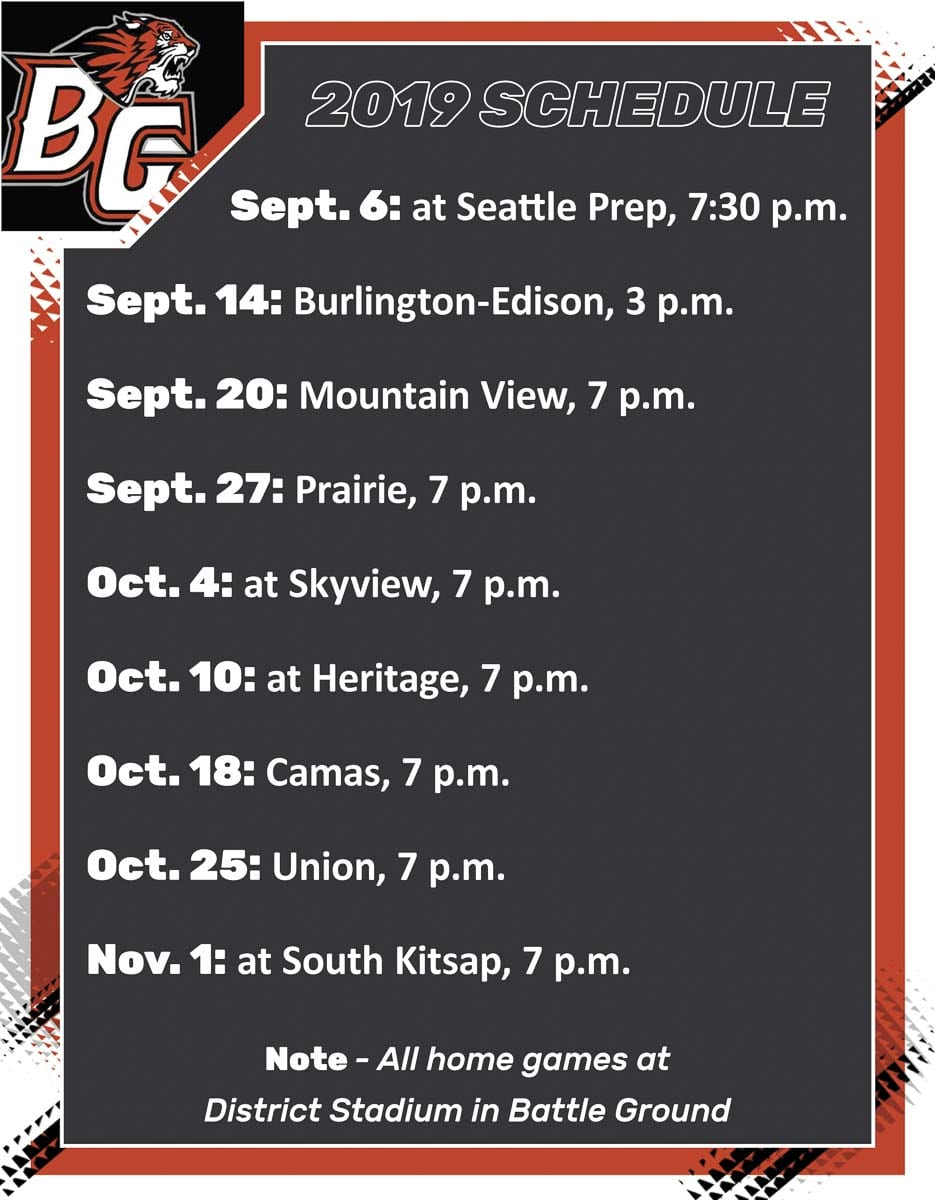 Battle Ground Tigers High School Football 2019 Schedule