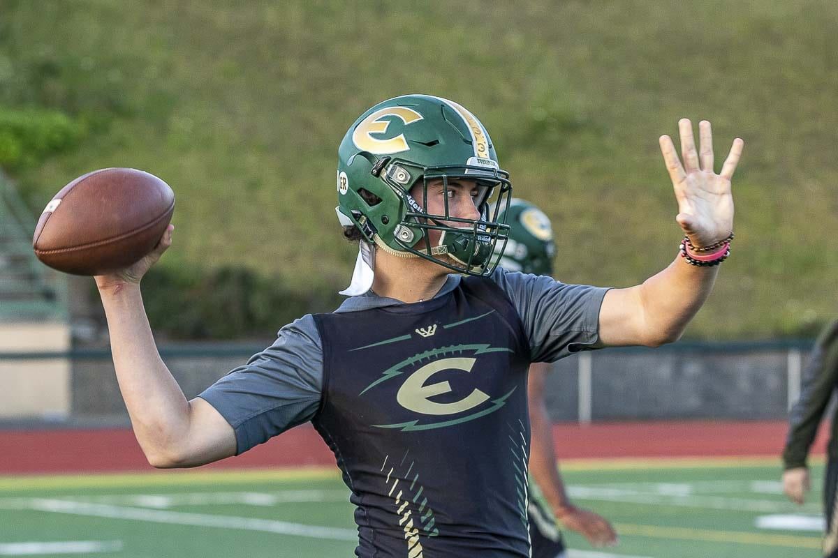 Carter Monda, a senior, came out for football this year and earned the starting job as quarterback for the Evergreen Plainsmen. Photo by Mike Schultz