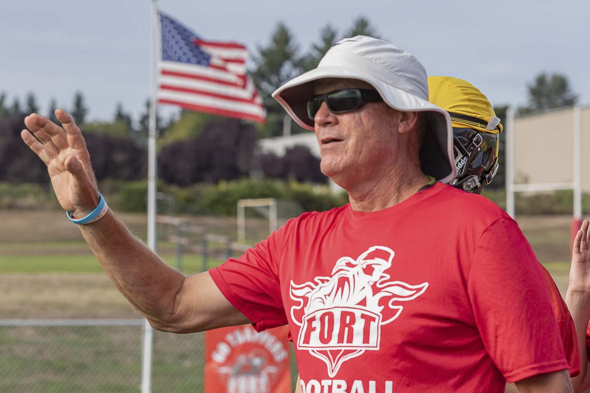 Neil Lomax is entering his second season as the head coach of Fort Vancouver football. Ideally, he said, he hopes to find a younger coach to mentor, to become the head coach of the future. Photo by Mike Schultz