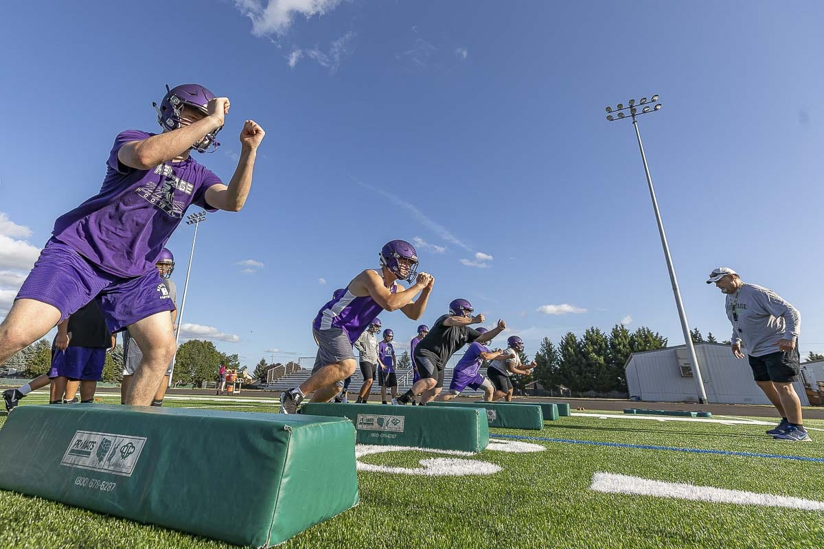 Heritage will attempt to gain some confidence early in the 2019 high school football season as the Timberwolves once again attempt to rebuild their program. Photo by Mike Schultz