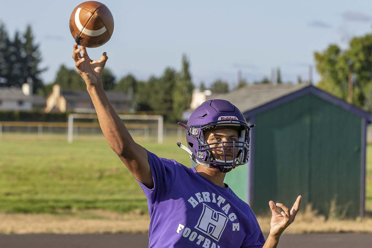 Nikki Scott won the starting quarterback job at Heritage last season as a freshman before suffering an injury. He's back to lead the Timberwolves in 2019. Photo by Mike Schultz