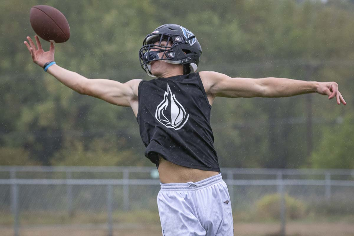 Hockinson receiver Peyton Brammer has displayed the ability to make acrobatic catches. He returns to what appears to be another high-powered Hawks' offense. Photo by Mike Schultz