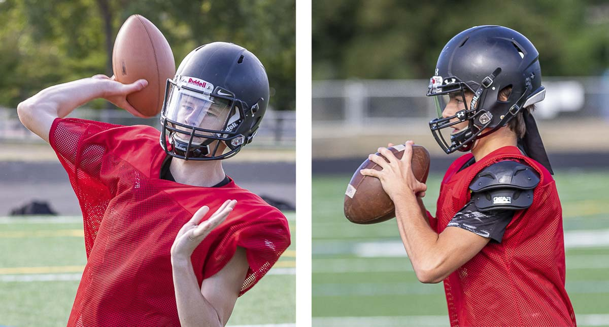 Austin Real-James, a senior, and Dylan Damos, a sophomore, are competing for the Eagles' starting quarterback position. Photos by Mike Schultz