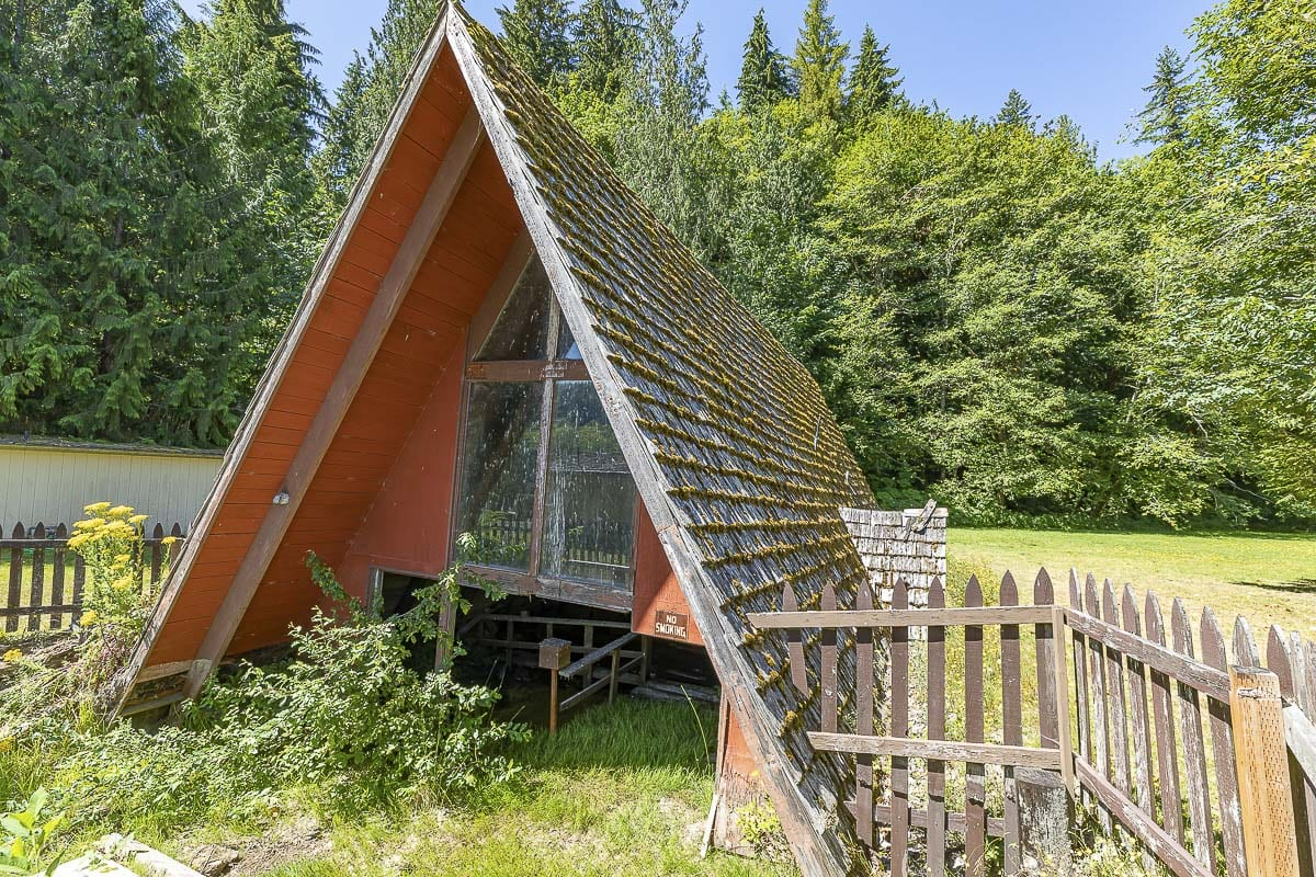 This A-frame home was half-buried during the mud flows resulting from the 1980 eruption. Photo by Mike Schultz