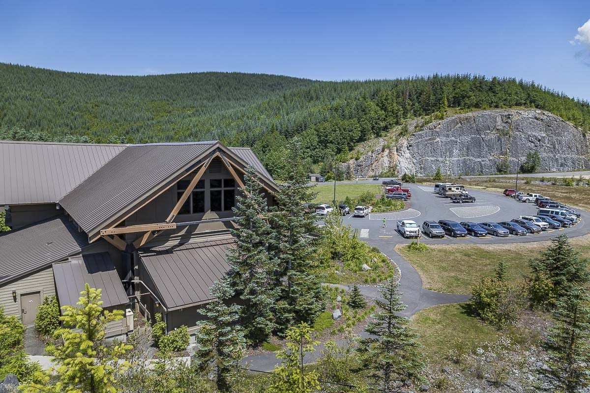 The Forest Learning Center on the way to the mountain, can be seen here from atop its elk viewing area overlooking the Toutle River Valley. Photo by Mike Schultz