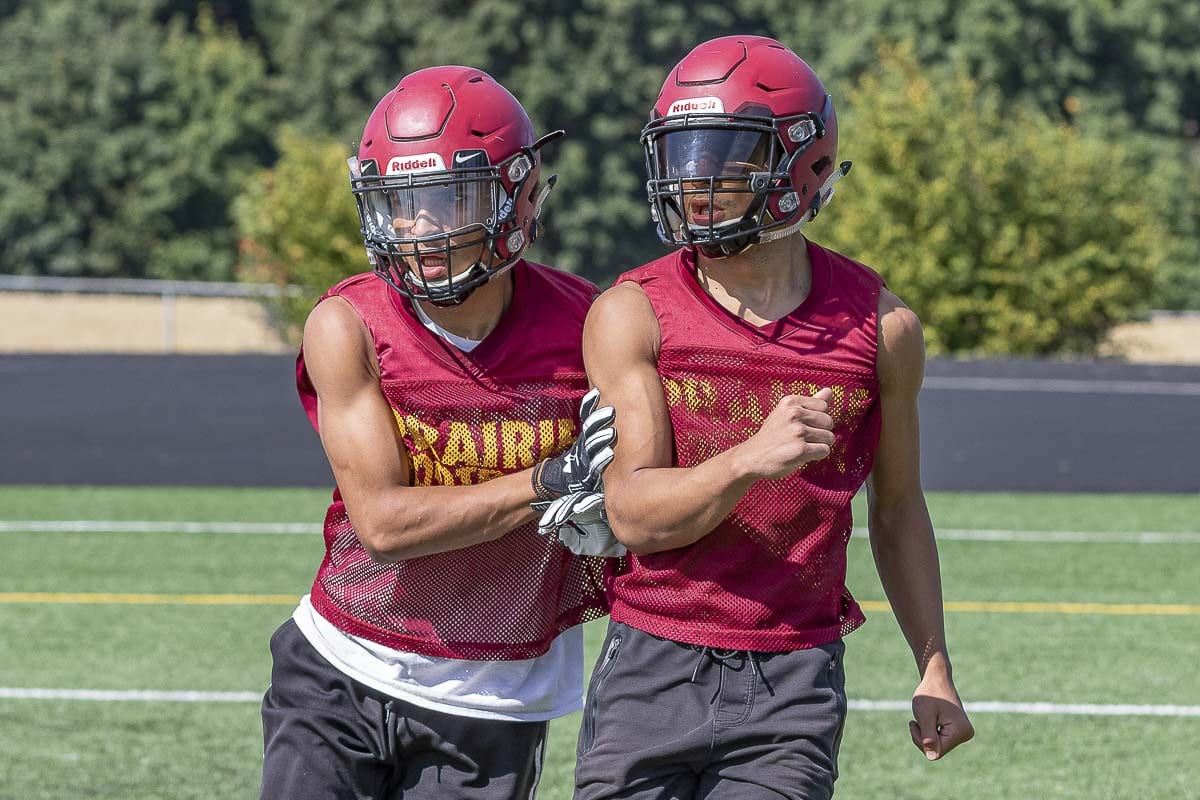 "A.J. Dixson, left, will compete with brother Zeke Dixson during practice but during games there will be a lot of ""A.J. to Zeke"" for the Prairie Falcons. Photo by Mike Schultz"