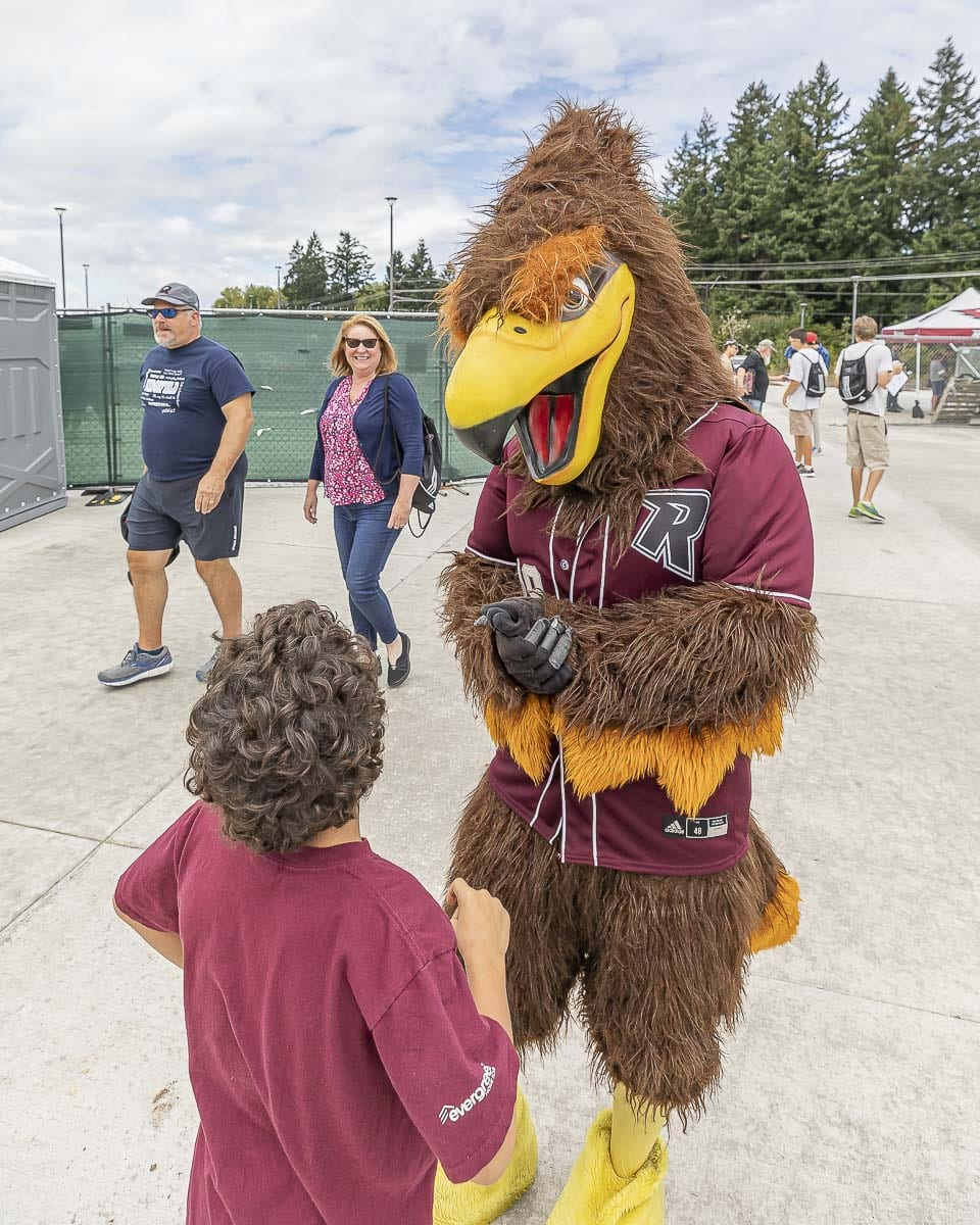 Rally the Raptor was a big hit at all the home games at the Ridgefield Outdoor Recreation Complex. Photo by Mike Schultz