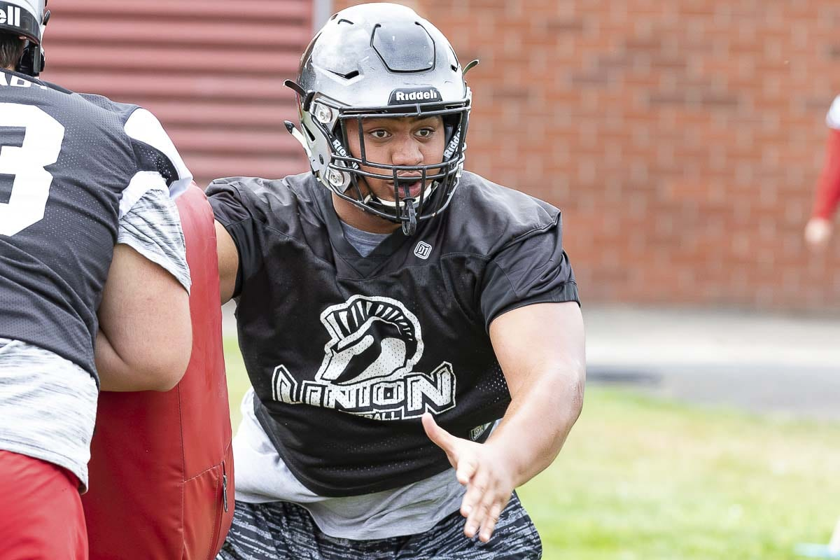Union lineman Rocky Mataia had an outstanding offseason according to his coach and he is expected to be a key to the Titans' success in 2019. Photo by Mike Schultz