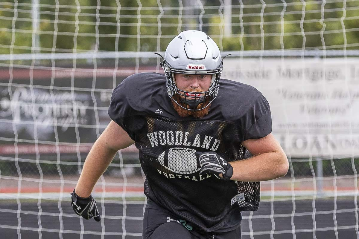 "Michael ""Big Red"" Karchesky is ready to step up his game as a varsity starter on the line for the Woodland Beavers. Photo by Mike Schultz"