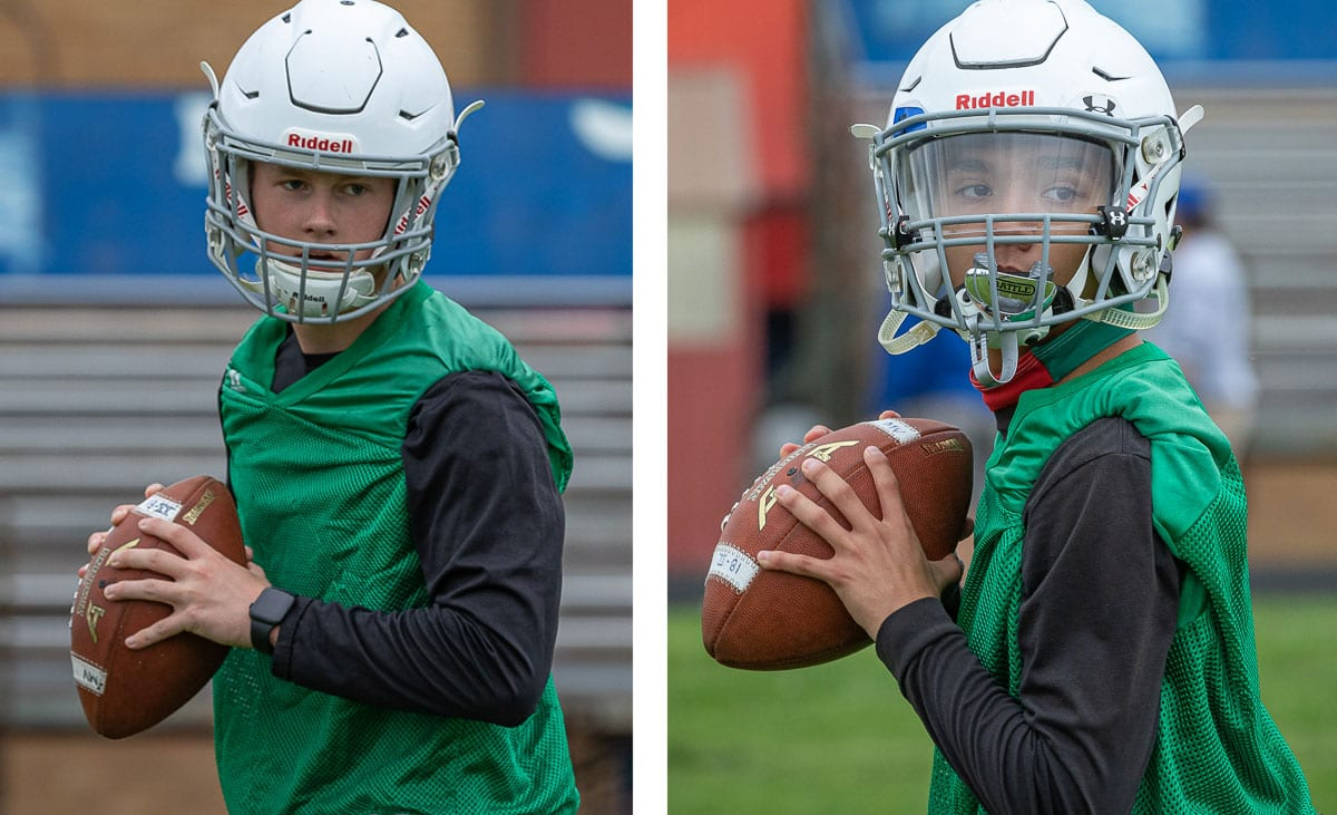Alec Cann and Kury Santiago are in a quarterback battle. Only one can start, but the coach said both athletes will be on the field somewhere this season. Photos by Mike Schultz