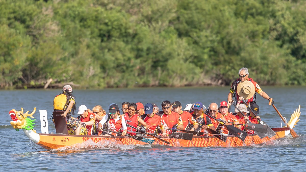 Paddle West dragon boat racing event held in Ridgefield over the weekend