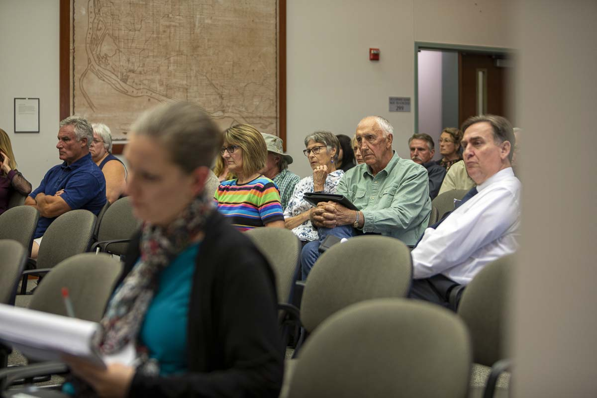 Community members are seen here, during Thursday evening hearing on the land use at Yacolt Mountain Quarry. Many were in opposition, but several showed support for the quarry. Photo by Jacob Granneman