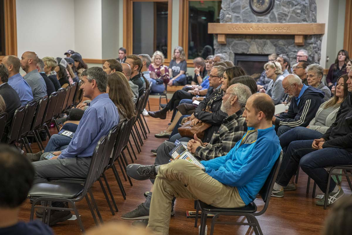 Community members gathered at Lacamas Lake Lodge Thursday night to hear from the mayor of Camas, the Port of Camas-Washougal CEO and the Camas School District's superintendent. Photo by Jacob Granneman