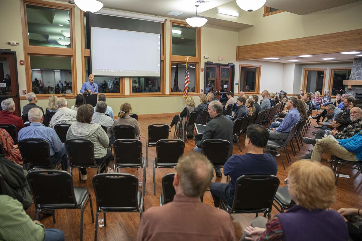 The evening was emceed by Camas School Board President Doug Quinn, who received questions from the crowd on comment slips and lead a Q&A with speakers. Photo by Jacob Granneman