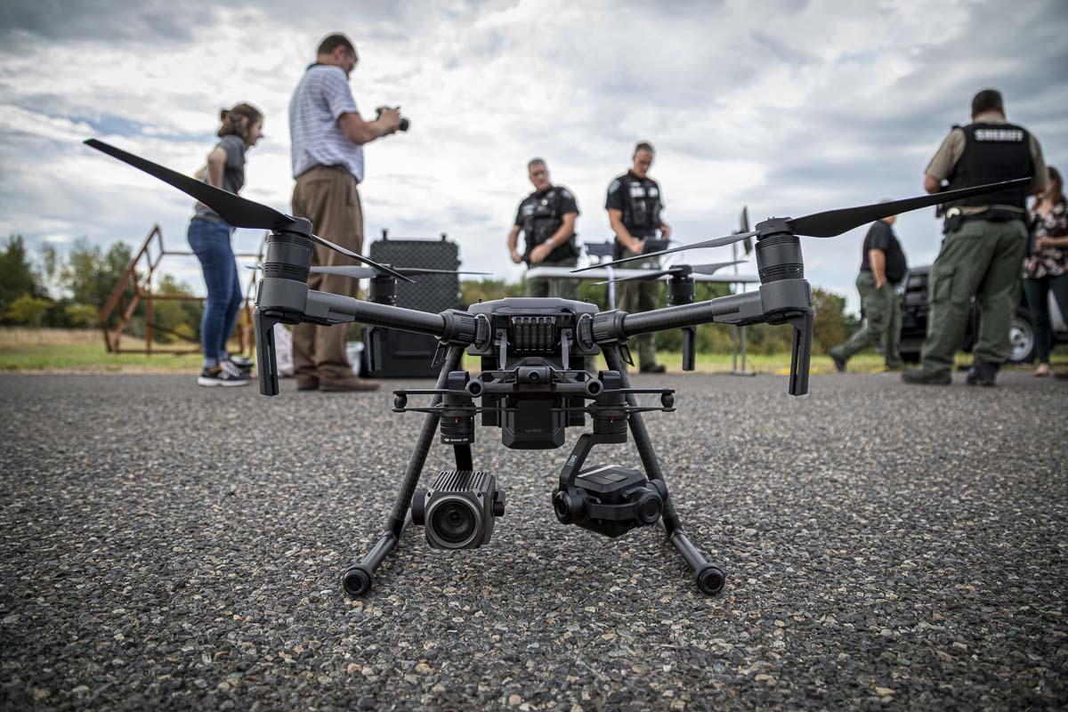The Clark County Sheriff's Office's largest UAS device, the Matrice 210, is shown here during a demonstration day. Photo by Jacob Granneman