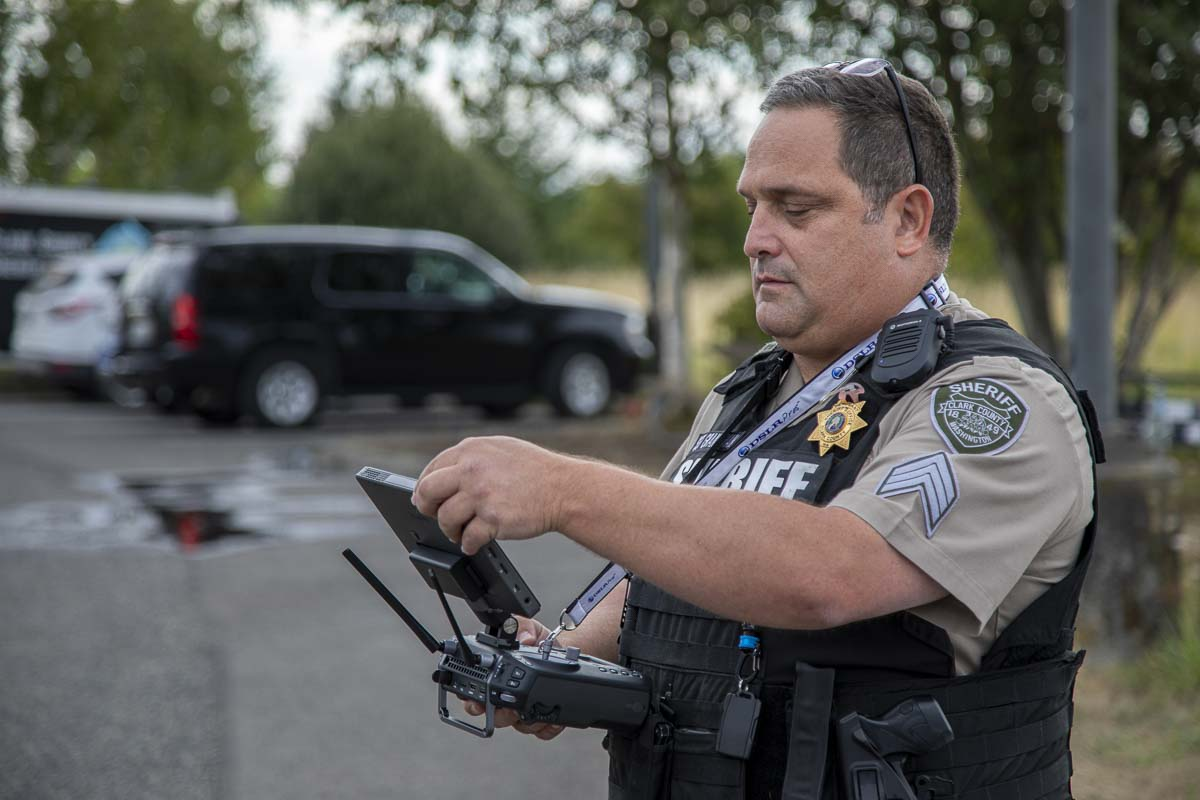 Sgt. Jason Granneman is seen here piloting the agency's M210 drone during a demonstration with the news media Thursday. Photo by Jacob Granneman