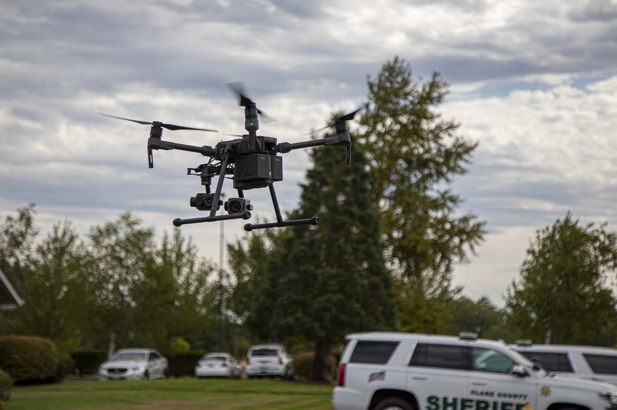The Clark County Sheriff's Office purchased the weather-resistant, M210 UAS, when its predecessor could not hold two cameras at once. Photo by Jacob Granneman