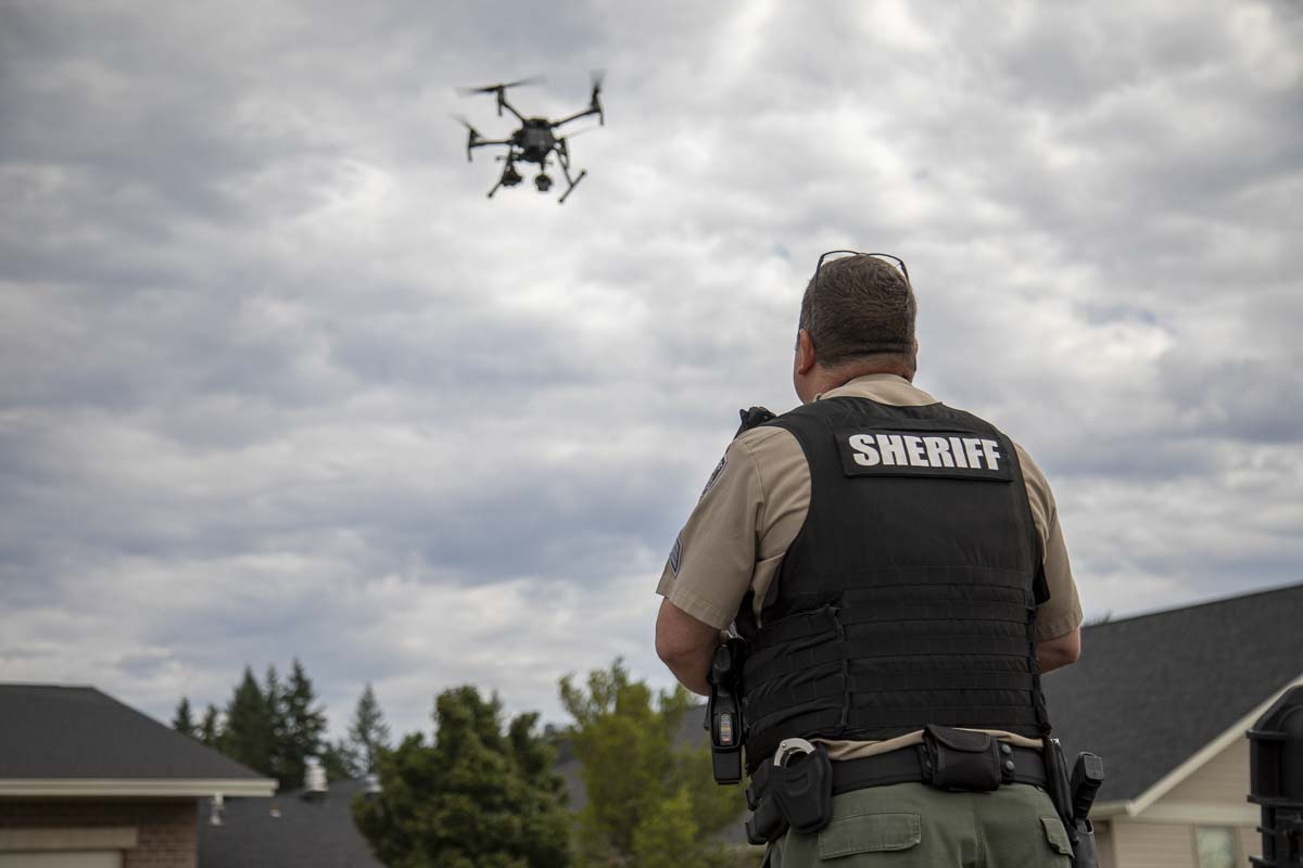 Sgt. Jason Granneman is seen here piloting the agency's M210 drone during a demonstration with the news media. Photo by Jacob Granneman