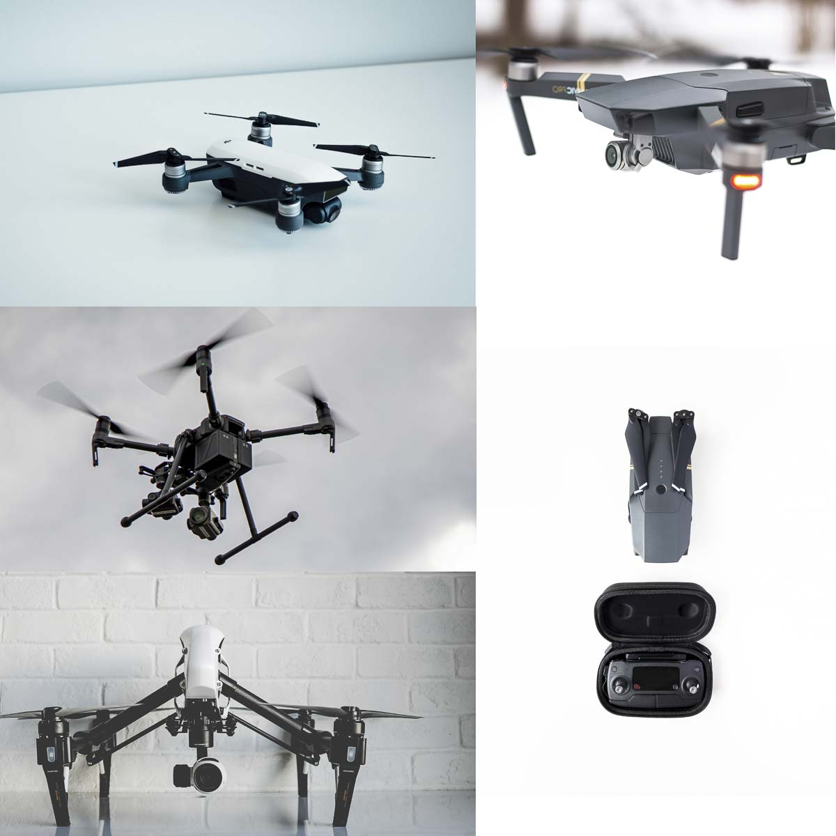 DJI Spark (top left), DJI Mavic Pro (top right), DJI Matrice 210 (middle left), DJI Mavic Pro folder with controller (middle right), DJI Inspire (bottom left) are shown here. Photos from Unsplash.com and Jacob Granneman