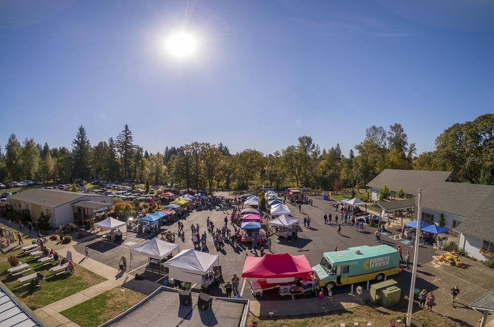 A panoramic view of a past years Apple Festival shows all the vendors and activities at Riverside Christian School. Photo courtesy of Riverside Christian School