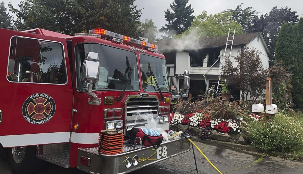 The house fire was knocked down within 10 minutes. Nobody was home at the time of the fire and no pets were injured. Photo courtesy of Vancouver Fire Department