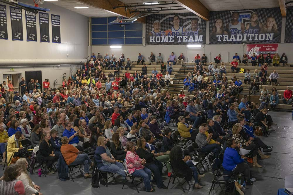 Employees gather in the O'Connell Sports Center gym for Opening Day of Clark College's 2019 fall term. Photo courtesy of Clark College/Jenny Shadley