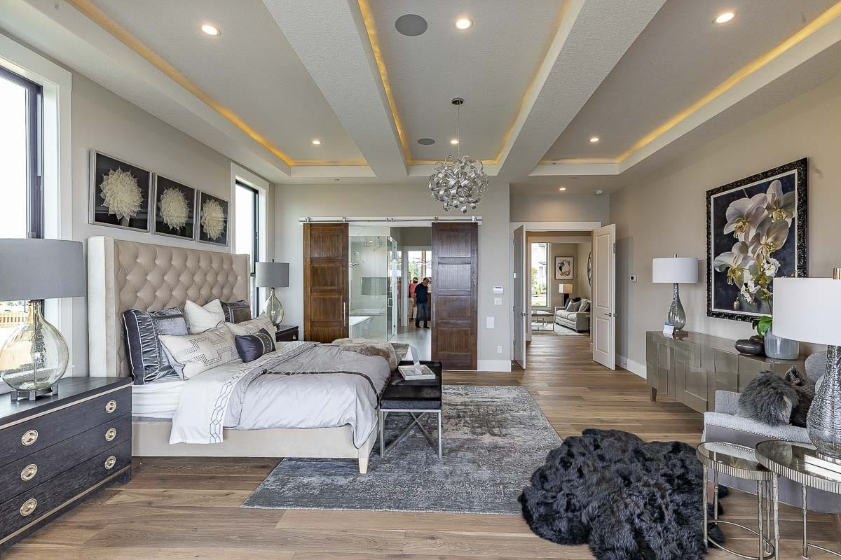 The master bedroom suite of The River's Point home is shown here. Photo by Mike Schultz