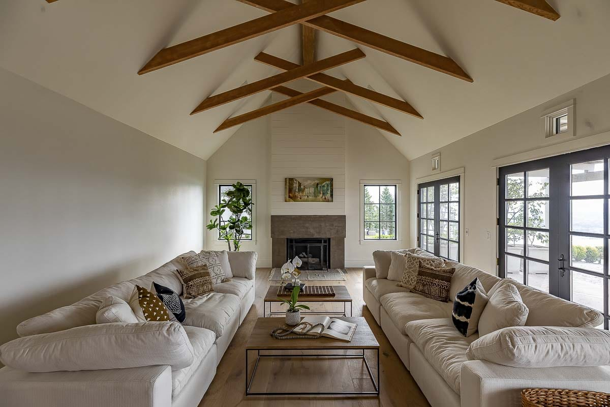 Living space in the Chateau Angelo home features these spectacular open beams. Photo by Mike Schultz