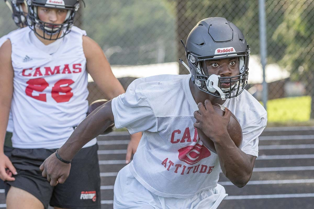 Jacques Badolato-Birdsell remains focused every week, leading the Camas rushing attack. He has nine touchdown runs through three weeks. Photo by Mike Schultz