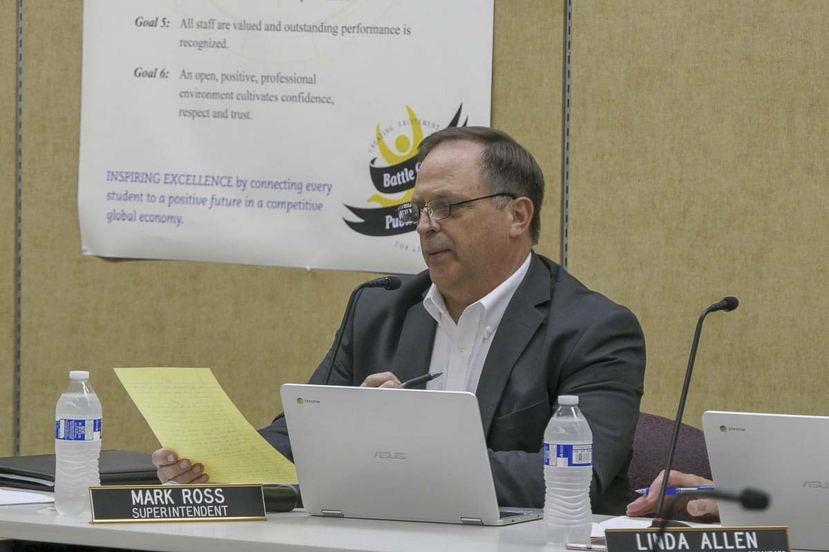 Battle Ground Schools Superintendent Mark Ross listens to public testimony about proposed sexual health class updates during a July 2018 board meeting. Photo by Chris Brown