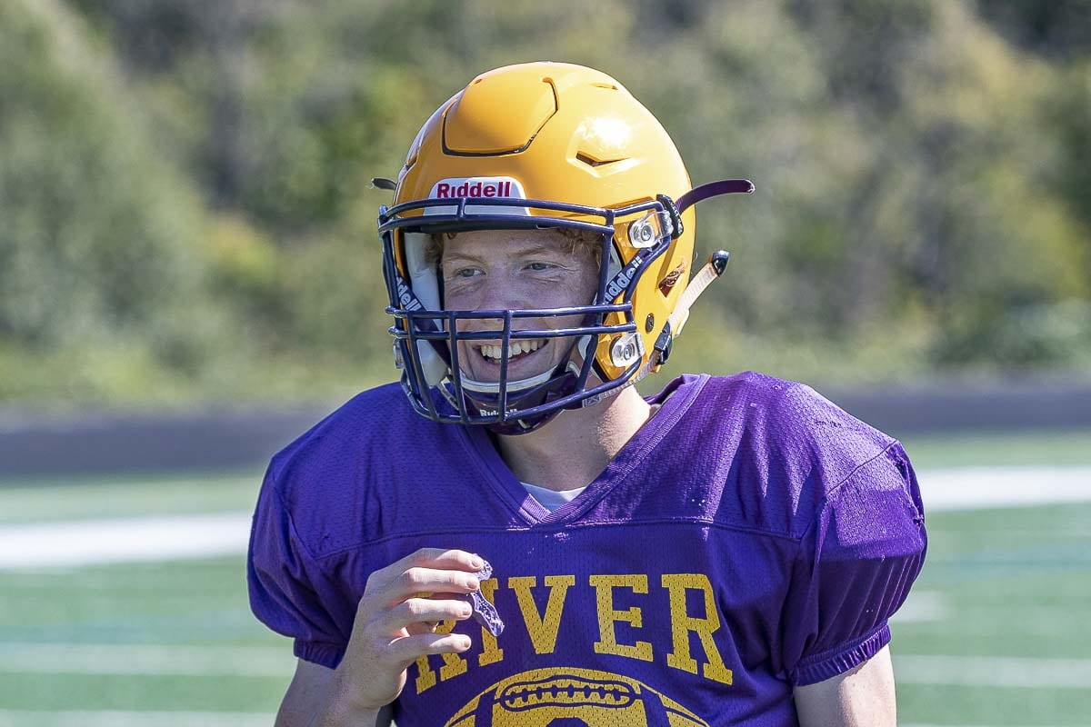 Mason Priddy is all smiles as the starting quarterback for the Columbia River Chieftains. Photo by Mike Schultz