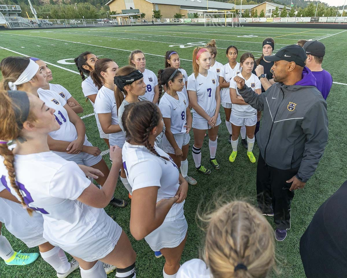 Columbia River coach Filomon Afenegus said his teams never focus on results-based goals. Instead, it is all about the process and reaching a team's potential. It is working. Columbia River has made it to the state playoffs the past eight seasons. Photo by Mike Schultz