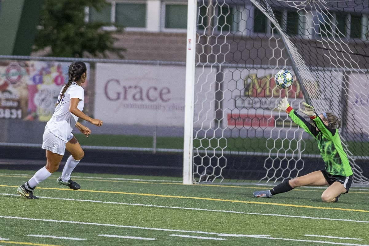 Yaneisy Rodriguez, shown here scoring against Woodland on Tuesday, has helped Columbia River jump to a 6-0 record. The Chieftains have outscored their opponents 33-2. Photo by Mike Schultz