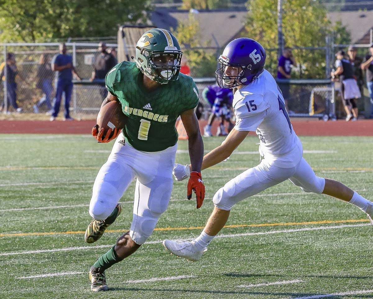 Evergreen's Zyell Griffin, shown here in Week 1, had a 99-yard touchdown in Week 3. That's his second 99-yard score of the season. Photo by Mike Schultz