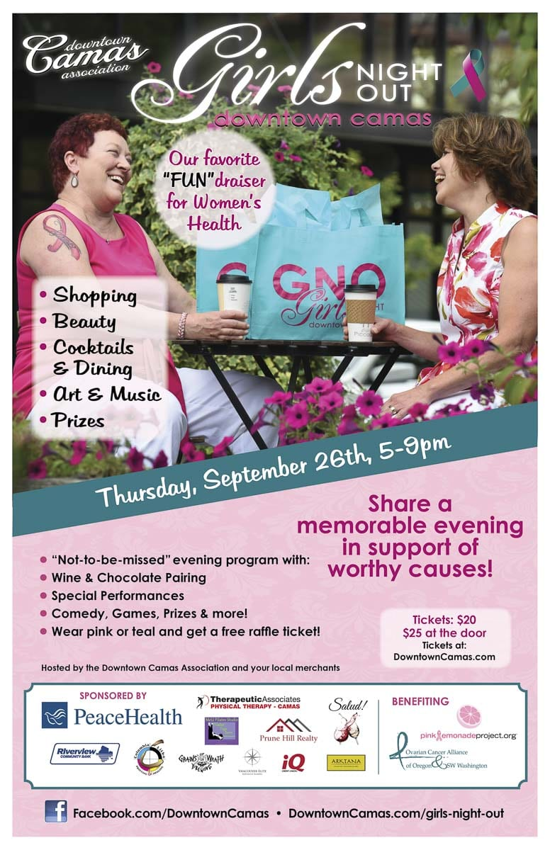 This year's Camas Girls' Night Out is on Thu., Sept. 26, 5-9 p.m. All friends, sisters, moms, and daughters are invited to attend this fundraiser for breast and ovarian cancer awareness and action that benefits the Pink Lemonade Project and the Ovarian Cancer Alliance of Oregon/SW Washington. Poster courtesy of the Downtown Camas Association