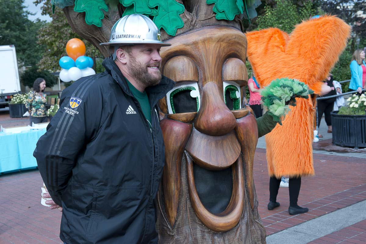 Timber Joey was one of many mascots and characters that joined a crowd of people attending the Give More 24! Rally. Photo courtesy of Community Foundation for Southwest Washington