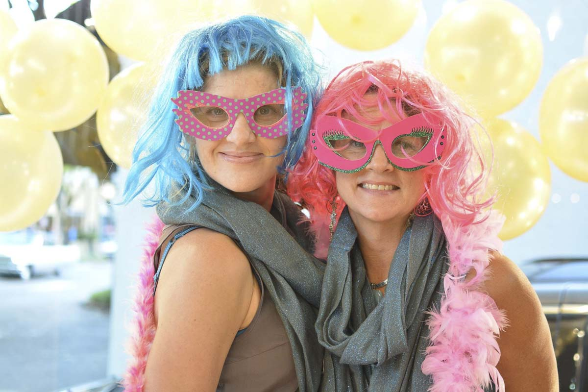 The 10th annual Camas Girls' Night Out promises to be a lively, fun evening of shopping, pampering, dining, goodies, prizes, art and engaging activities in Downtown Camas, all supporting two area women's charities. Here Gretchen Brown and Tina Eifert share a moment in the photo booth at a previous event. Photo courtesy of the Downtown Camas Association