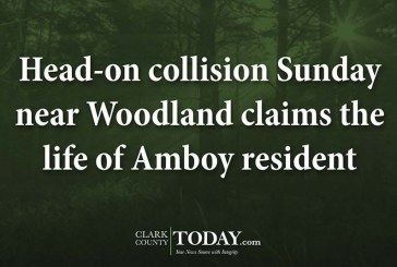 Head-on collision Sunday near Woodland claims the life of Amboy resident