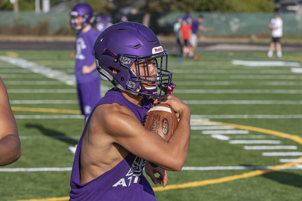 Isaac Roa, shown here in an August practice, scored the game's only touchdown last week as Heritage improved to 2-0. Photo by Mike Schultz