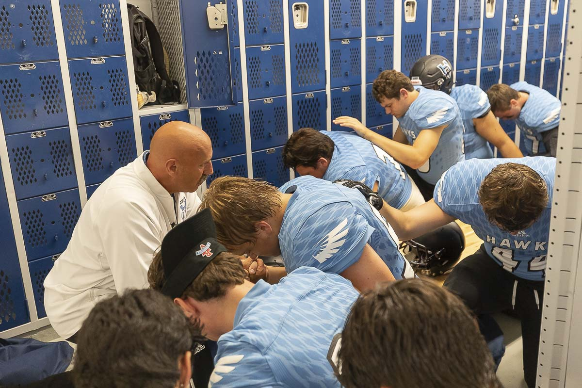 Hockinson coach Rick Steele addresses histeam prior to Friday's home game with Archbishop Murphy. Photo by Jacob Granneman