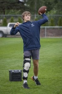 A knee injury will force Hockinson's Sawyer Racanelli to miss his senior season. He still expects to sign with the University of Washington later this school year. Photo by Mike Schultz