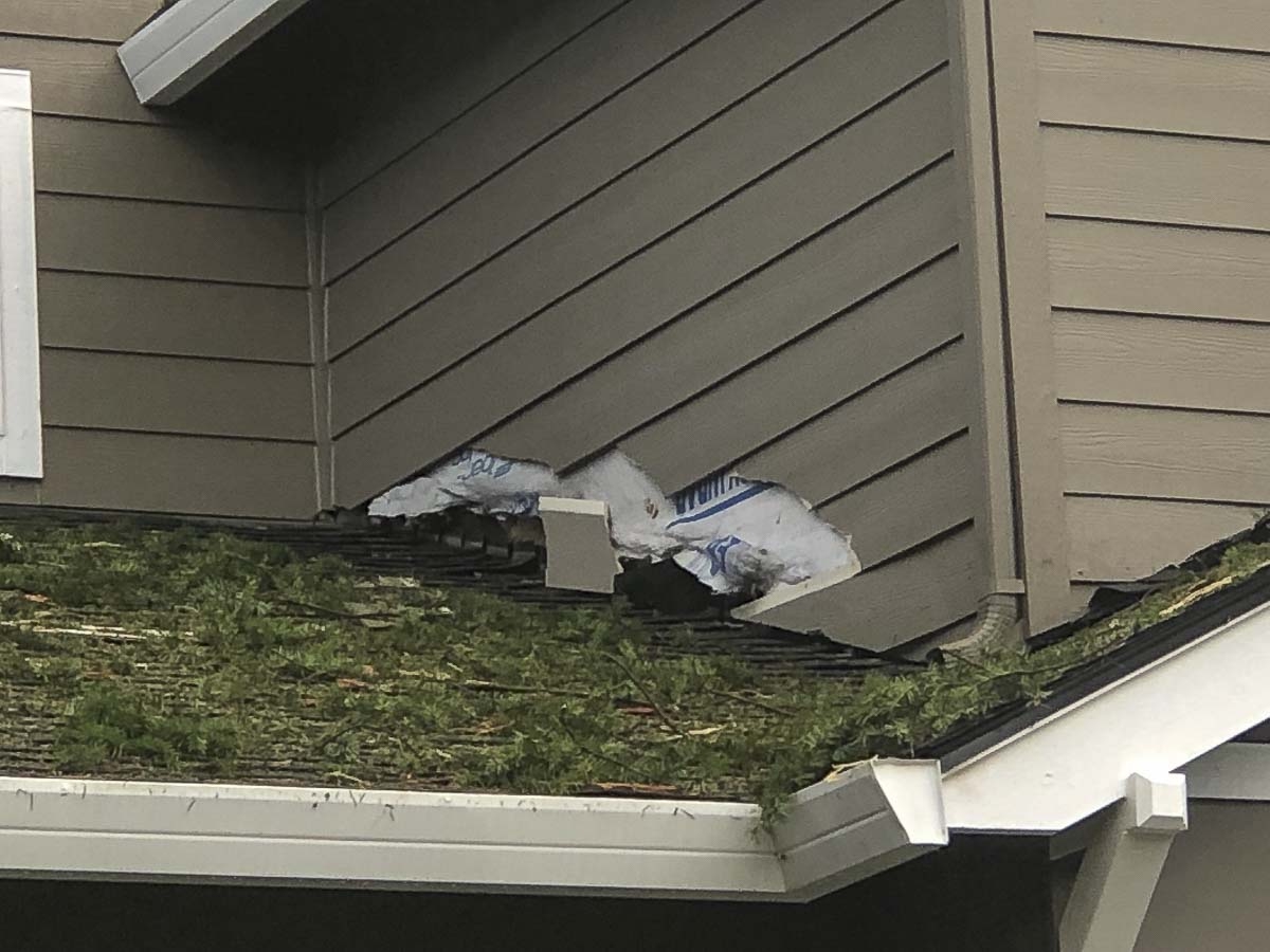 This photo shows some of the exterior damage caused by a lightning strike Saturday afternoon at the east Vancouver home of Steve and Erica Pyne.
